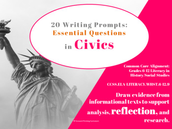 Common Core: 20 Writing Prompts on Essential Questions in Civics