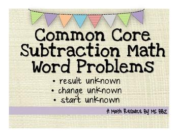 Common Core 2.OA.A.1 Algebra Word Problems {Subtraction Wi