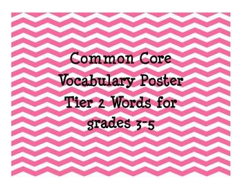 Common Core 3-5 Vocabulary Poster Tier 2