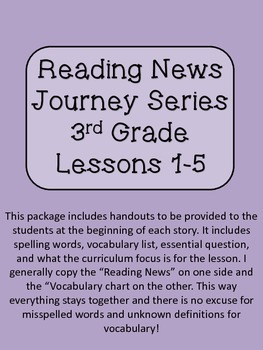 Reading News 3rd Grade Journey's Text Lessons 1-5