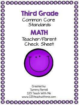 Common Core 3rd Grade Math Organizer: Teacher Check Sheet