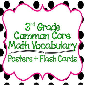 Common Core 3rd Grade Mathematics Vocabulary Posters & Fla