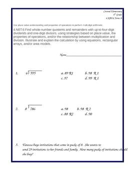 Common Core 4.NBT.6 Assessment Form A