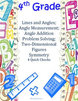 Common Core 4th Grade Angle Measures and Plane Figures Qui