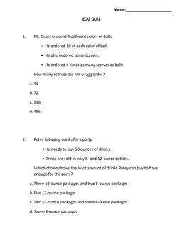 Common Core 4th Grade Math Practice EOG