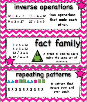 Common Core 4th Grade Math Vocabulary Cards - Pink