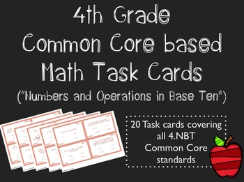 Common Core 4th Grade Task Cards - Numbers and Operations