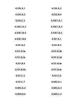 Common Core 4th grade ELA/Math Tabs