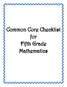Common Core: 5th Grade Math Checklist