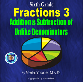 Common Core 6th - Fractions 3 - Addition & Subtraction of