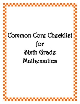 Common Core: 6th Grade Math Checklist