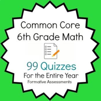 Common Core - 6th Grade Math Quiz Pack - 97 Quizzes Entire