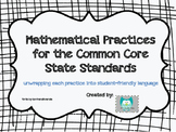 Common Core 8 Mathematical Practices Posters and Student R