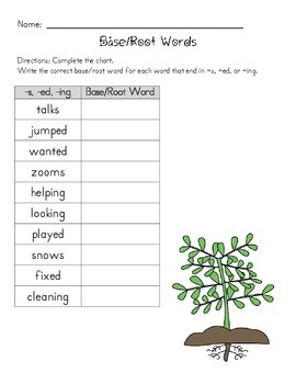 Common Core Activity: Finding the Base or Root Word