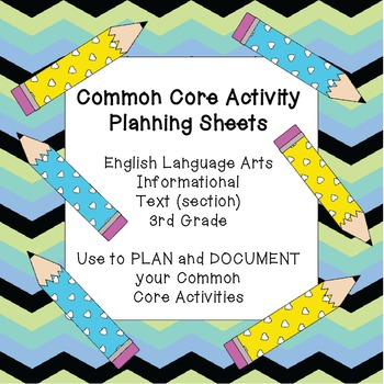 Common Core Activity Planning Sheets~ELA/ Informational Te