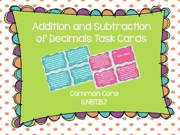 Common Core Add/Sub Decimals Task Cards