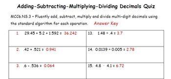 Common Core - Adding Subtracting Multiplying Dividing Deci