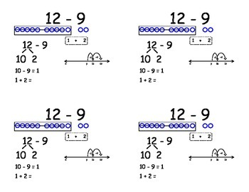 Common Core Addition Flashcards - subtracting nine