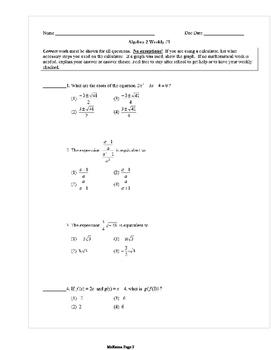 Common Core Algebra 2 Weekly 1