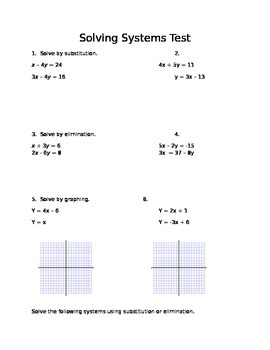 Common Core Algebra I Systems of Equations Assessment