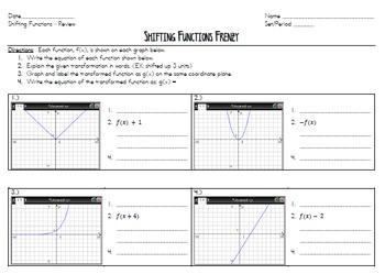 Common Core Algebra - Shifting Functions Worksheet - NYS Regents