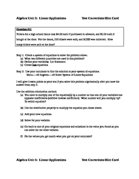 Common Core Algebra Test Correction Hint Cards (Unit Exam