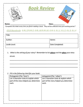 Common Core Aligned Book Review / Book Report