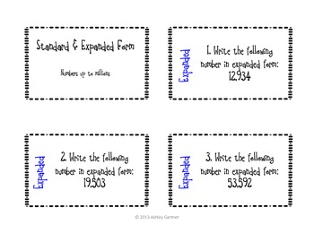Common Core Aligned Math-Expanded and Standard Form Task Cards