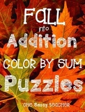 Common Core Aligned Fall into Addition Color by Sum Puzzles