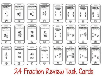 Common Core Aligned Fractions Review Cell Phone Task Cards
