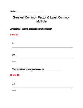Common Core Aligned Greatest Common Factor and Least Commo