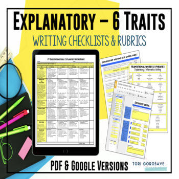 Common Core 6 Traits Explanatory Writing Rubrics for 6, 7,