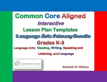Common Core Aligned Interactive Lesson Plan Templates Prim