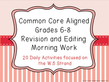 Common Core Aligned Middle Grades Revision and Editing Mor
