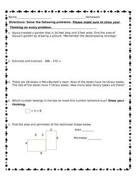 Common Core Aligned Third Grade Review Homework