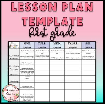 1st Grade Lesson Plan With Drop Down Common Core Standards!