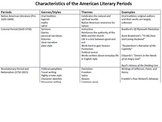 Common Core American Literary Periods Chart