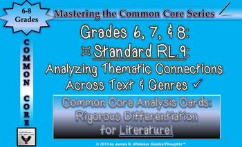 Common Core Analysis Cards 6, 7, 8 RL.9 Analyzing Thematic