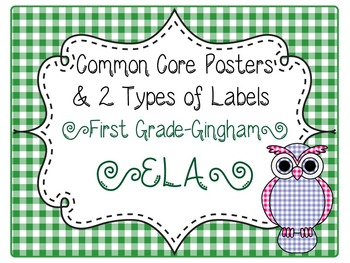 Common Core CCSS 1st Grade ELA Labels and Posters-Gingham