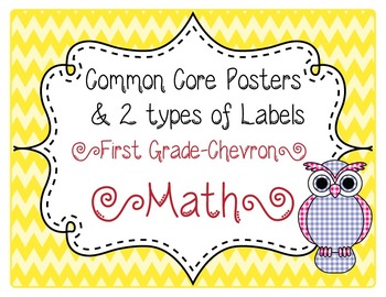 Common Core CCSS 1st Grade Math Labels and Posters-Chevron