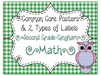 Common Core CCSS 2nd Grade Math Labels and Posters-Gingham