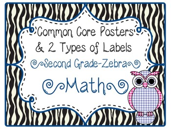 Common Core CCSS 2nd Grade Math Labels and Posters-Zebra