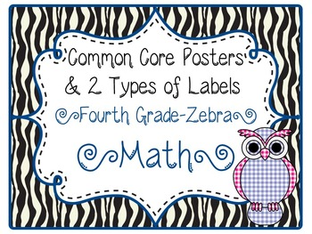 Common Core CCSS 4th Grade Math Labels and Posters-Zebra