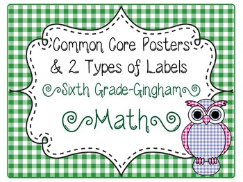 Common Core CCSS 6th Grade Math Labels and Posters-Gingham