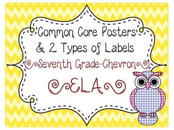 Common Core CCSS 7th Grade ELA Labels and Posters-Chevron  Print