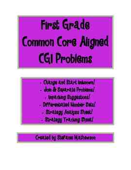 Common Core CGI Word Problems for 1st & 2nd Grade - JCU, J