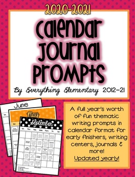 Common Core Calendar Writing Journal Prompts (Editable!)