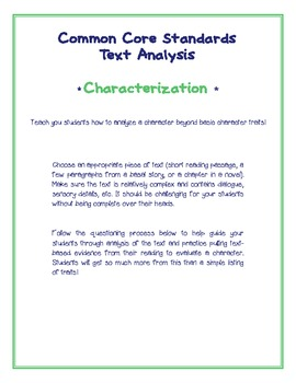 Common Core Characterization Questions