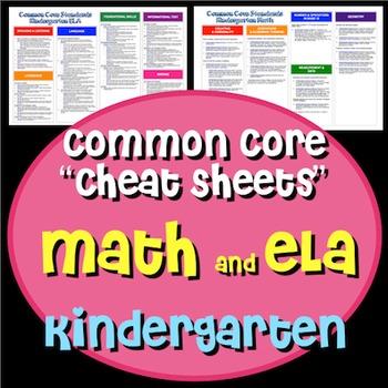 "Common Core ""Cheat Sheets"" - ELA & Math - Kindergarten"