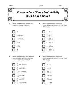 Common Core Check Box Activity - 8.NS.A.1 & 8.NS.A.2
